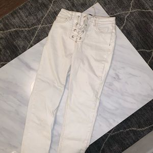 Cream lace up jeans size 26 BDG